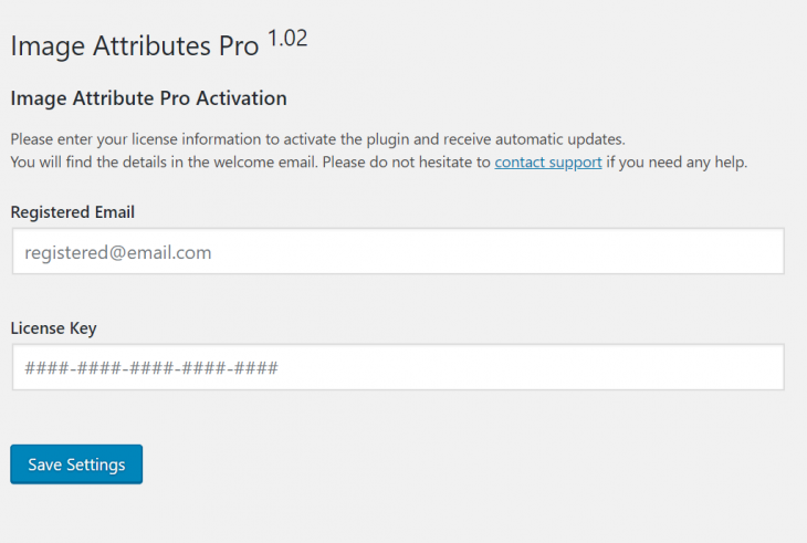 Image Attributes Pro Activation Page