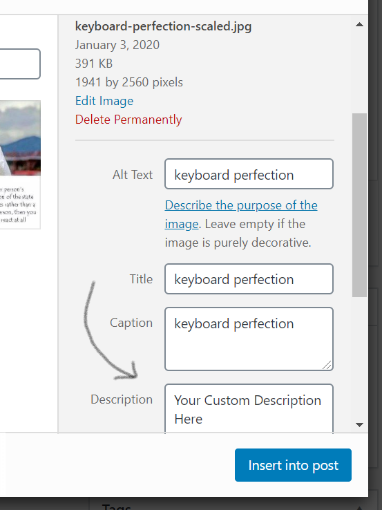 Custom Description For All Images