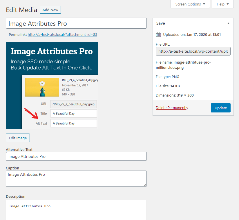 Image Attributes In Media Library
