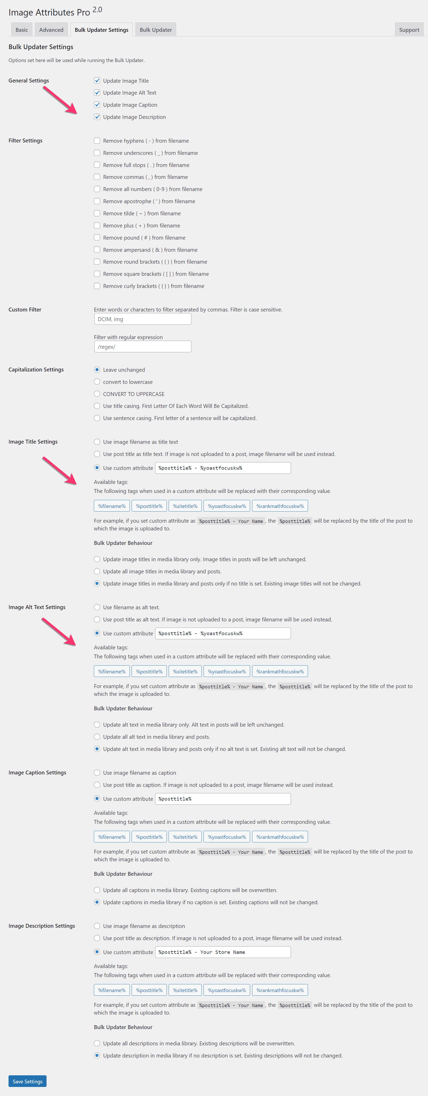 Image Attributes Pro Bulk Updater Settings For WooCommerce